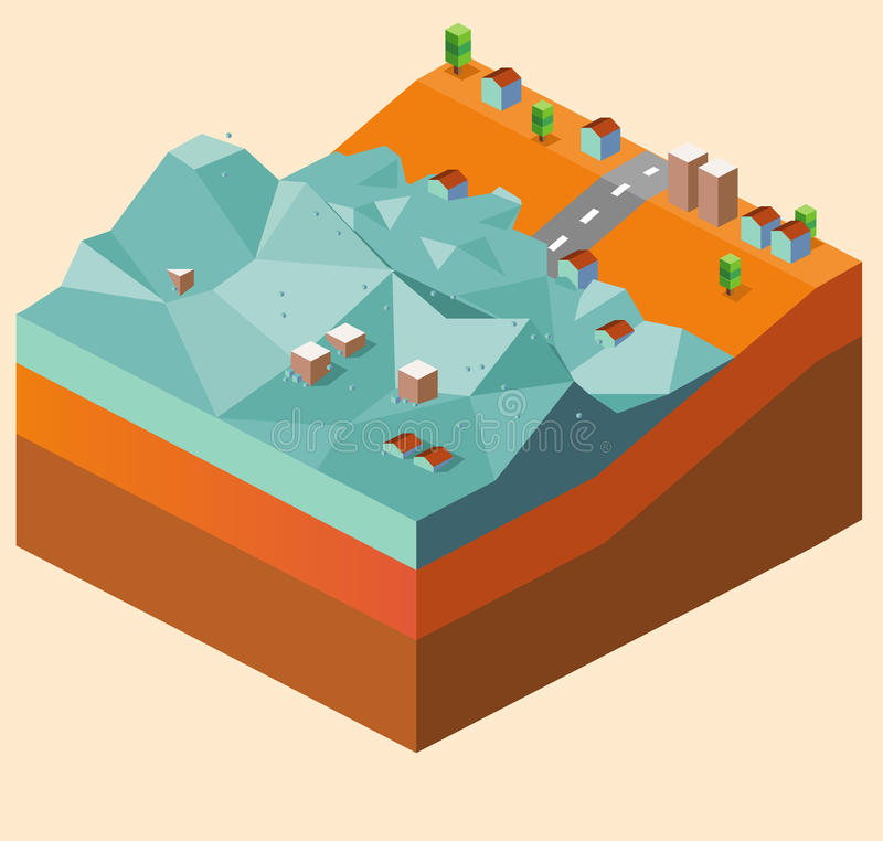 Flood tsunami. Flood caused by tsunami. illustration royalty free illustration