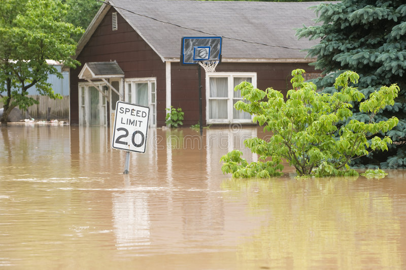 Flood waters stock images