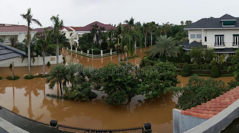 The flood in West Jakarta from above stock photos