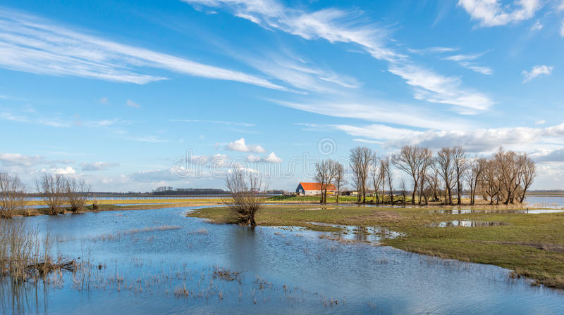 Flooded area through the high water into a nearby river royalty free stock photo