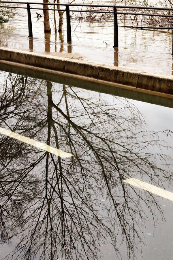 Flooded banks Seine River causes damage Paris stock photos