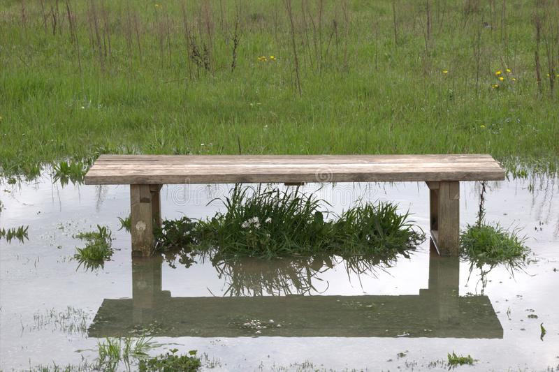 Flooded bench royalty free stock photos