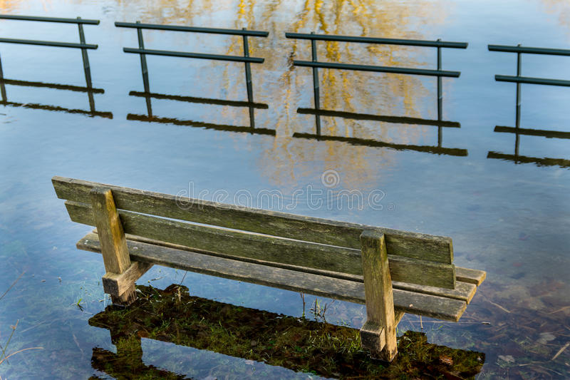 Flooded bench stock image