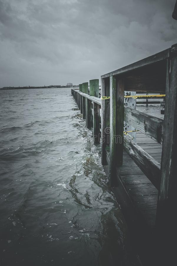 Flooded boat dock during Hurricane Harvey stock photography