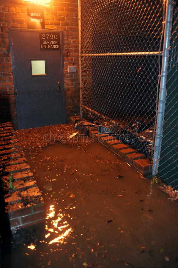 Flooded Building Entrance Caused By Hurricane Sand Editorial Stock Photo