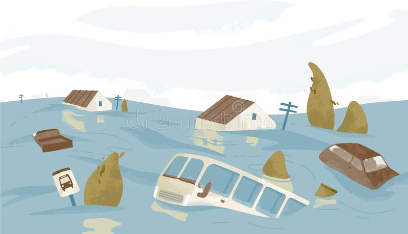 Flooded city or town. Houses, cars, trees, road signs submerged. Buildings and automobiles covered with water. Natural stock illustration