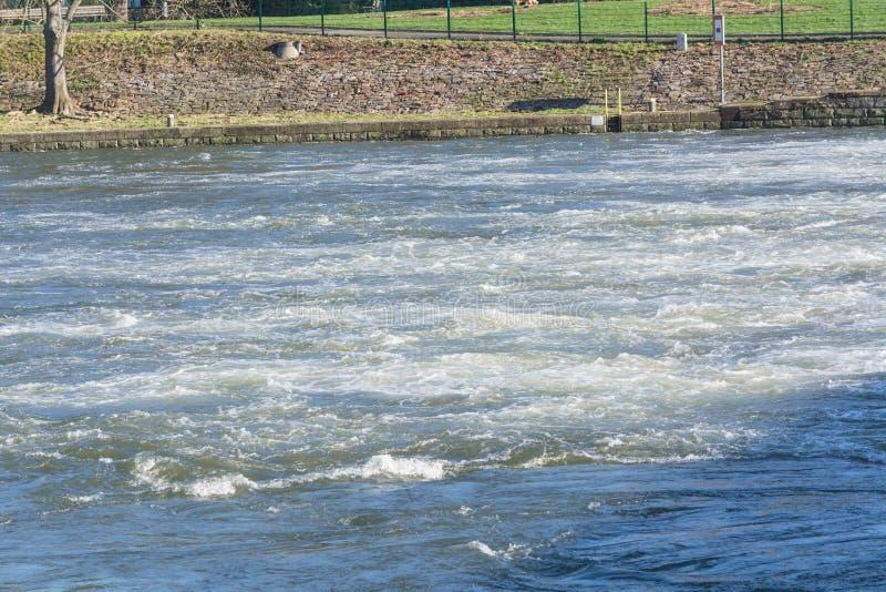 Flooded embankment in heavy rain royalty free stock photos
