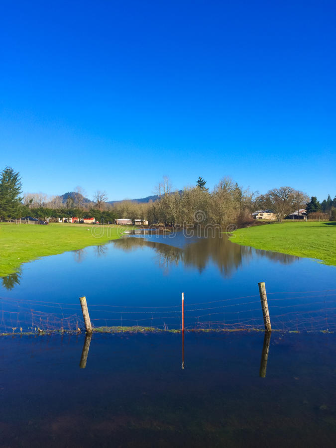 Flooded Farm Creek. Water is very high after some recent rainfall and this small farm creek is at flood stage royalty free stock photography