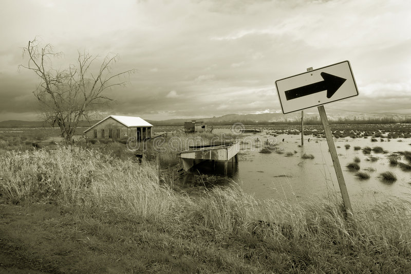 Download Flooded Farm Field And Sign Stock Image - Image of points, outdoor: 427639