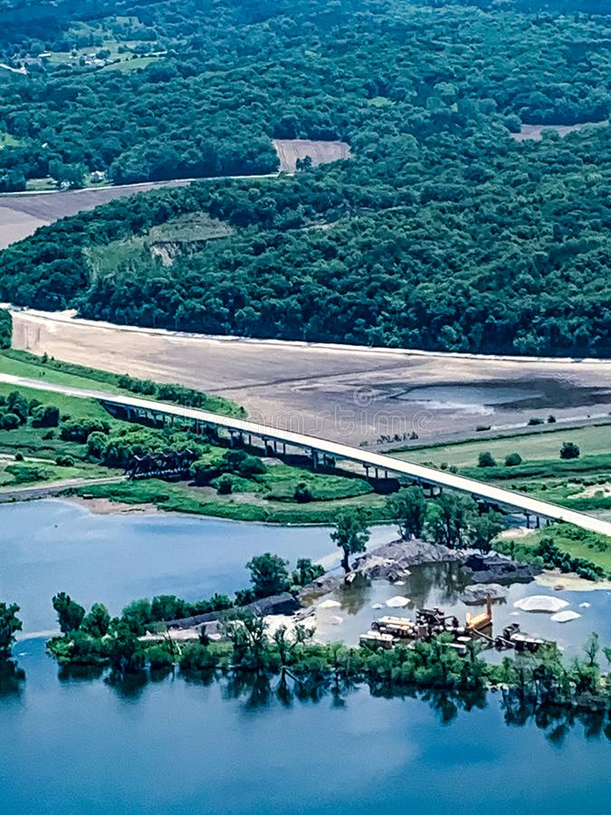 Flooded field with submerged roadways along the Missouri River. Aerial view of Flooded field and farmland with submerged roadways along the Missouri River in the stock photography