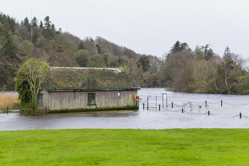 Flooded fisherman house at the edge of a lake. In Ireland royalty free stock photos