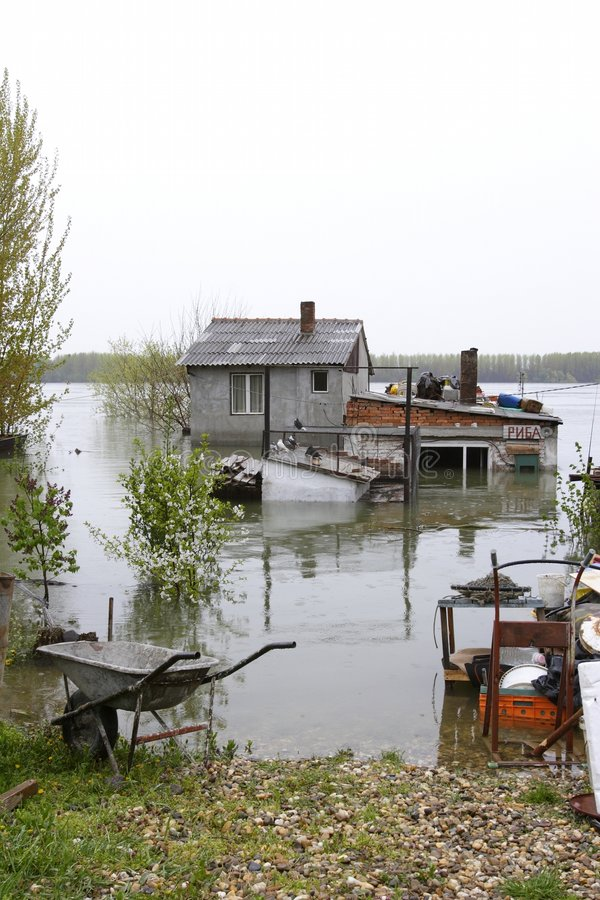 Flooded homes stock photo
