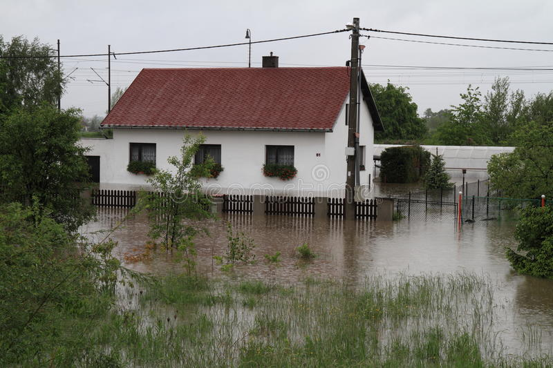Flooded house. In north-east of Czech republic. Name of the village - Detmarovice royalty free stock photos
