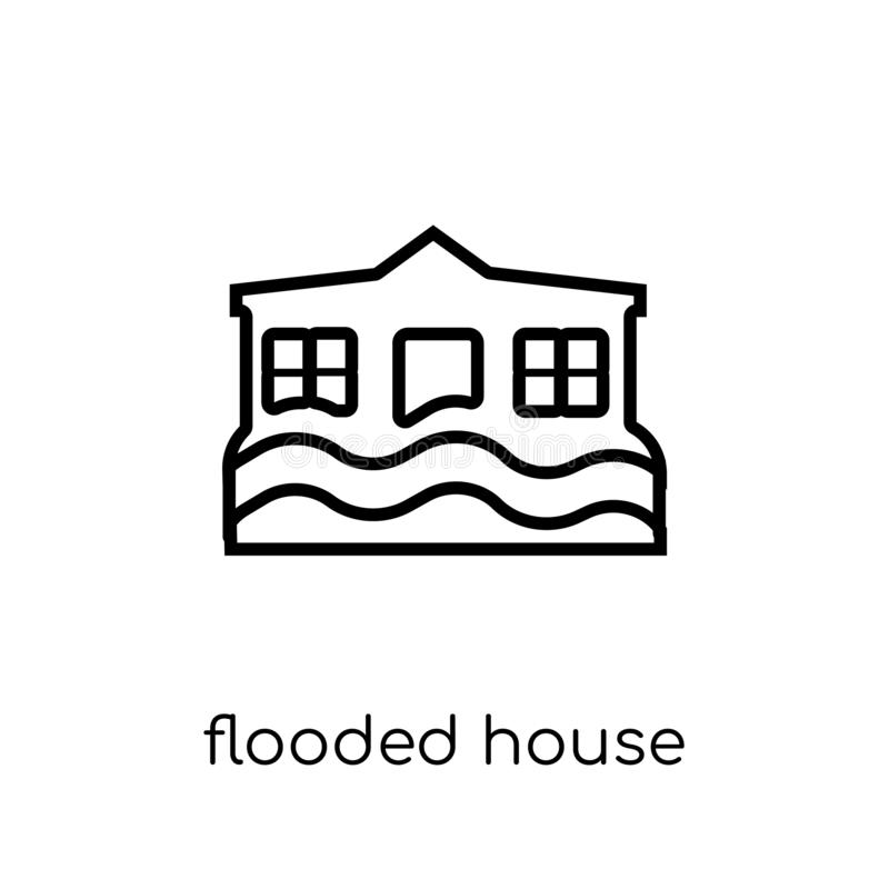 Flooded house icon. Trendy modern flat linear vector Flooded house icon on white background from thin line Insurance collection stock illustration