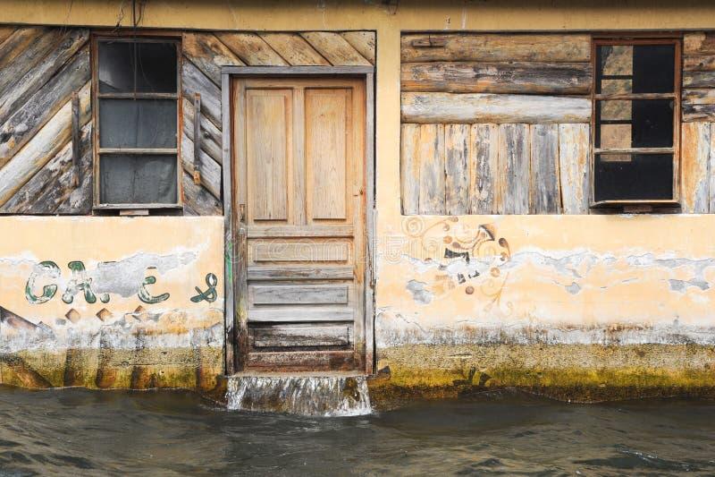 Flooded house at San Juan on lake Atitlan stock image