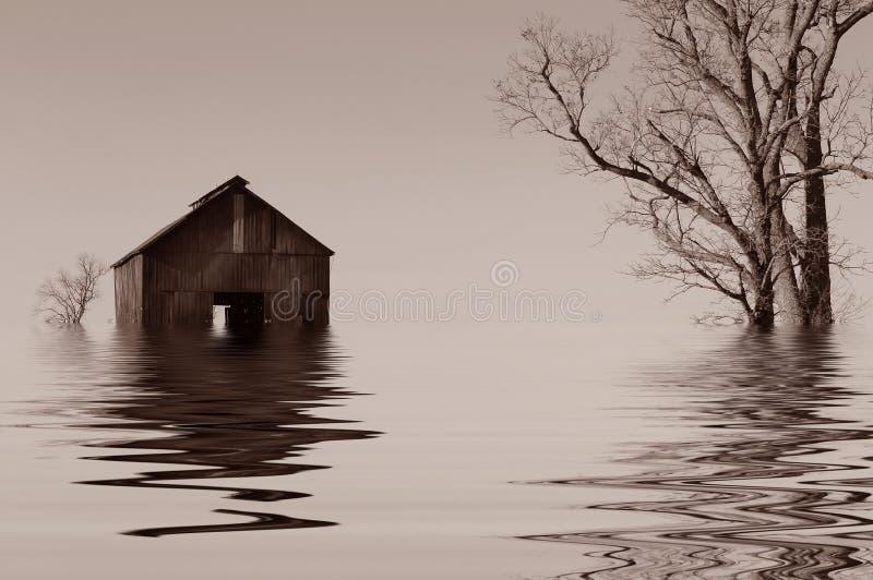 Flooded Iowa Farmhouse Royalty Free Stock Photos