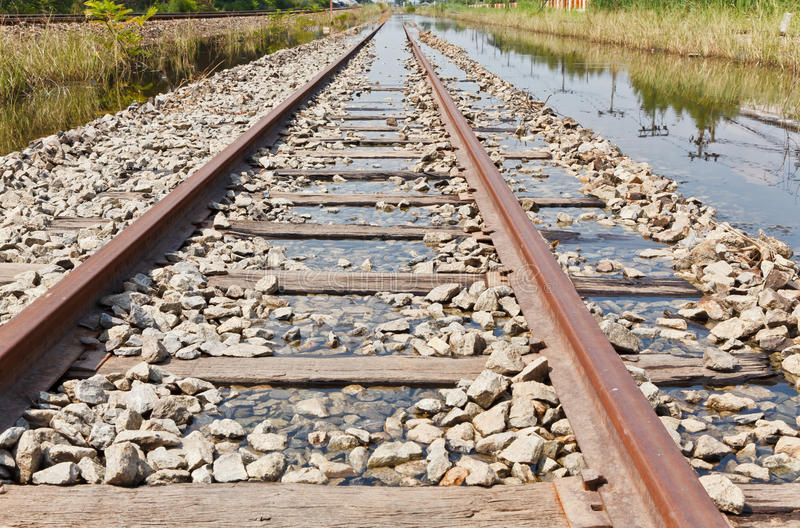 Download The Flooded Railway Track stock image. Image of route - 22117085