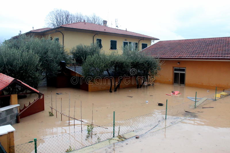 Flooded residential areas In Marina di Carrara. Images taken during the flooding of the Carrione River, Marina di Carrara (Tuscany, Italy) submerged by waters royalty free stock images