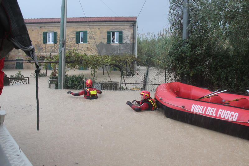 Flooded residential areas In Marina di Carrara. Images taken during the flooding of the Carrione River, Marina di Carrara (Tuscany, Italy) submerged by waters royalty free stock photo