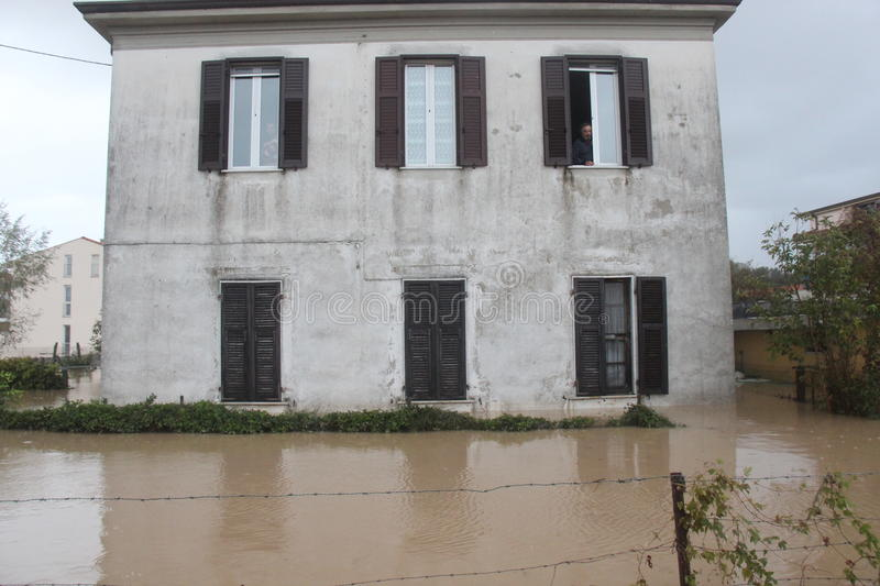 Flooded residential areas In Marina di Carrara. Images taken during the flooding of the Carrione River, Marina di Carrara (Tuscany, Italy) submerged by waters royalty free stock photos