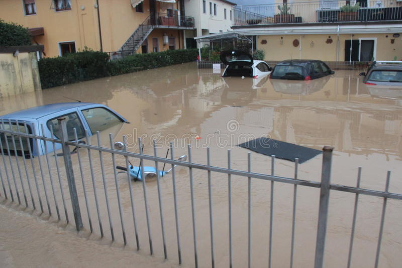 Flooded residential areas In Marina di Carrara. Images taken during the flooding of the Carrione River, Marina di Carrara (Tuscany, Italy) submerged by waters stock photo