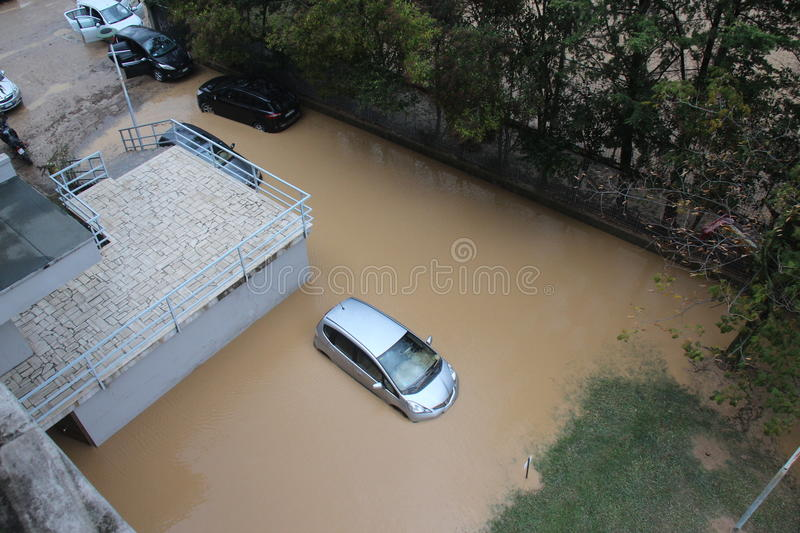 Flooded residential areas In Marina di Carrara. Images taken during the flooding of the Carrione River, Marina di Carrara (Tuscany, Italy) submerged by waters royalty free stock image