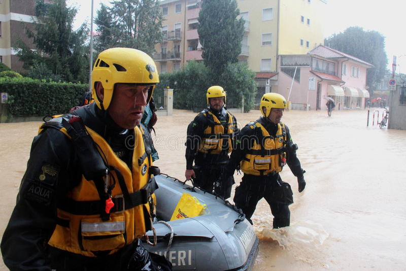Flooded residential areas In Marina di Carrara and rescue. Images taken during the flooding of the Carrione River, Marina di Carrara (Tuscany, Italy) submerged royalty free stock photo