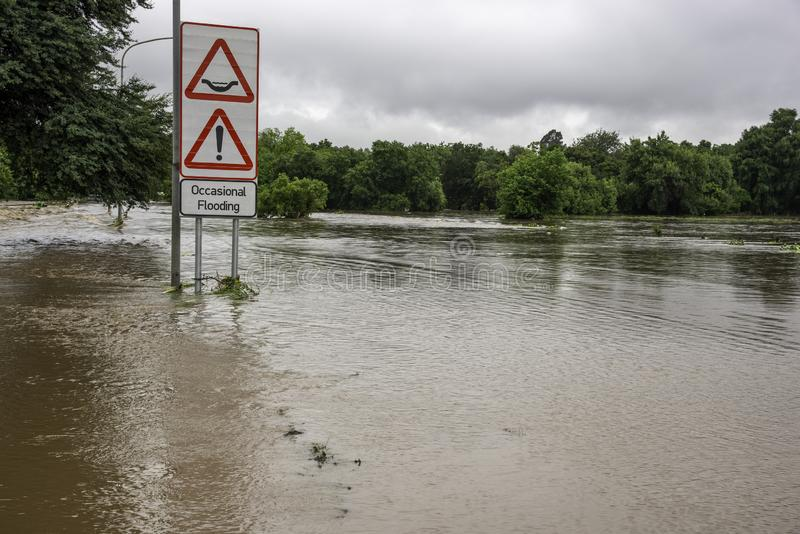 A flooded road in Centurion, South Africa. The Hennops river in Centurion, South Africa, burst its banks and severe flooding took place royalty free stock image