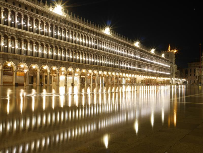 Flooded St. Mark& x27;s Square at night royalty free stock photos