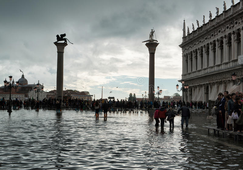 Flooded St. Marks Square in Venice, Italy. stock photography