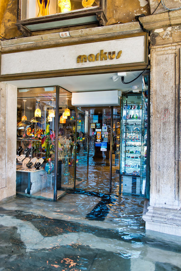 Flooded Store near St. Marks in Venice, Italy. royalty free stock images