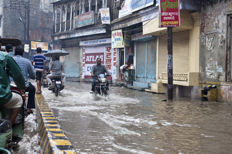 Download Flooded street in Varanasi editorial photography. Image of monsoon - 22097697