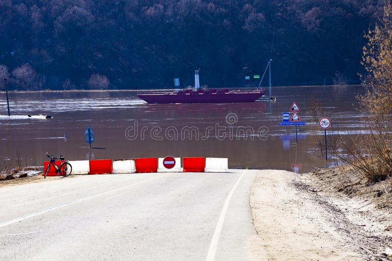 Flooded traffic signs. royalty free stock photography