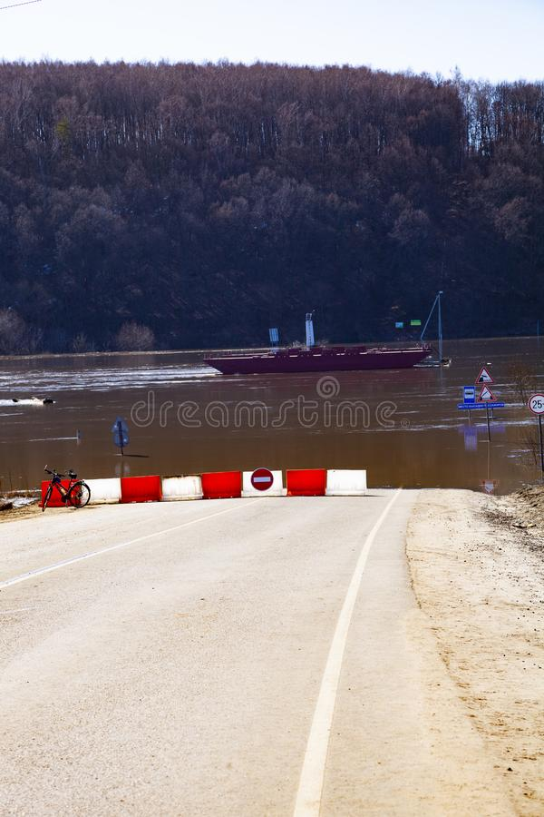 Flooded traffic signs. stock image