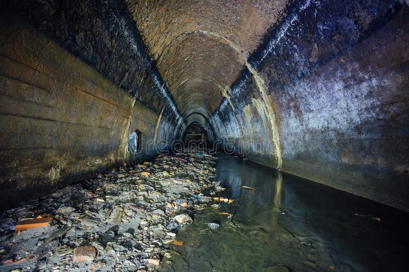 Flooded By Wastewater Sewage Collector Sewer Tunnel Under