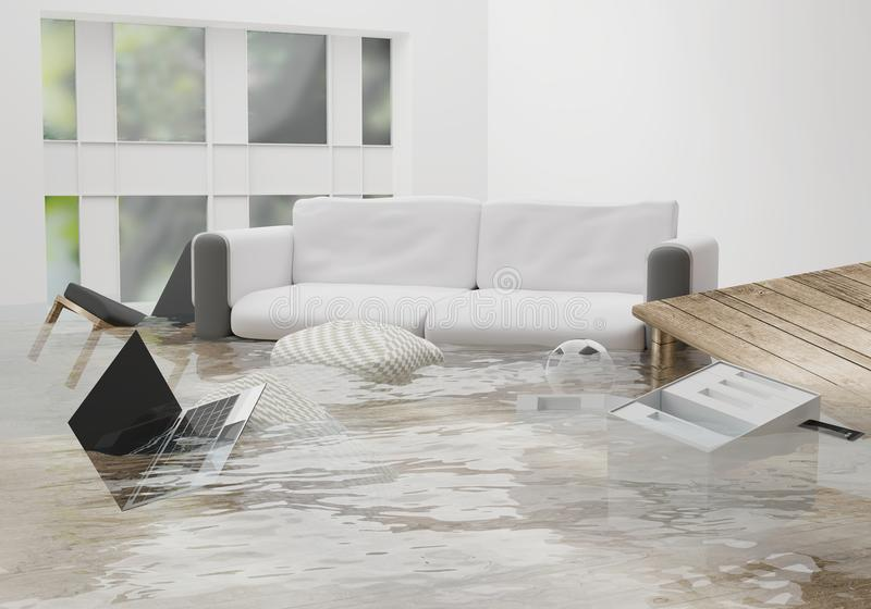 flooded water damage due to flooding in the house 3d-illustration stock illustration
