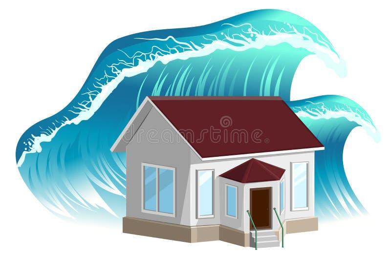 Flooding дома Свойство insurance иллюстрация вектора
