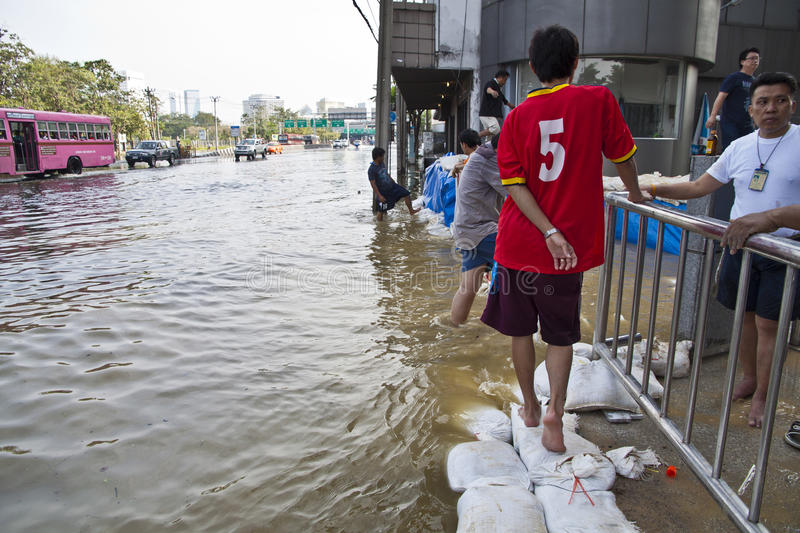 Flooding in Bangkok. stock photo