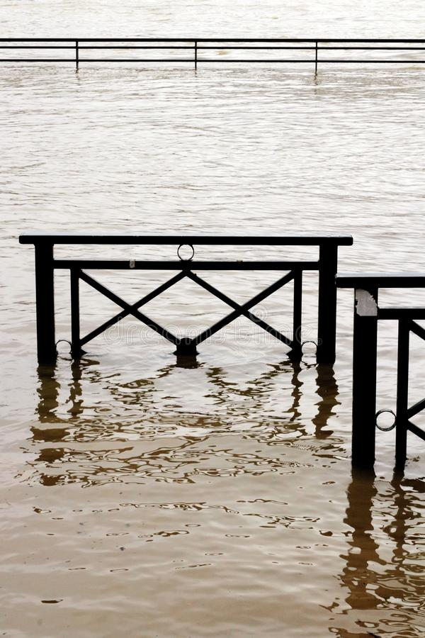 Flooding banks Seine River damage in Chatou, Yvelines, France stock photos