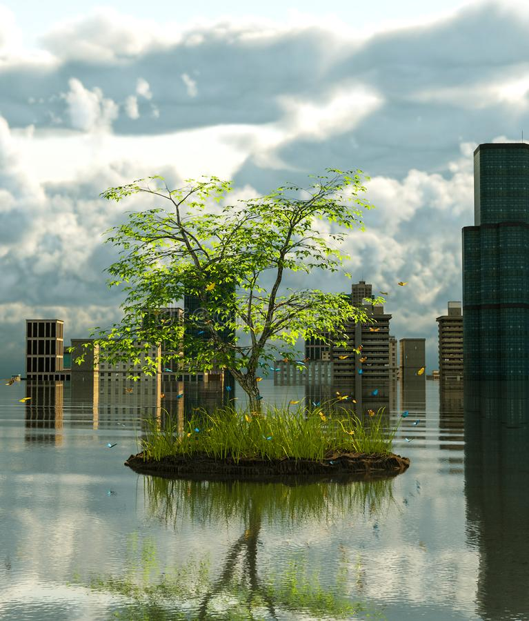 Flooding cityscape with the Last tree on earth stock illustration