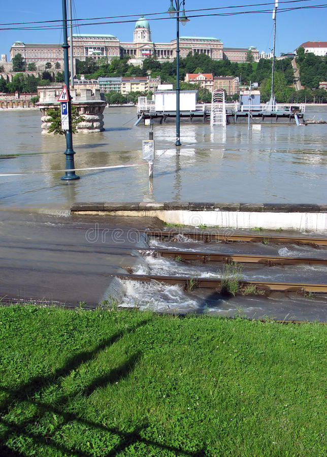 Flooding Danube in Budapest royalty free stock image