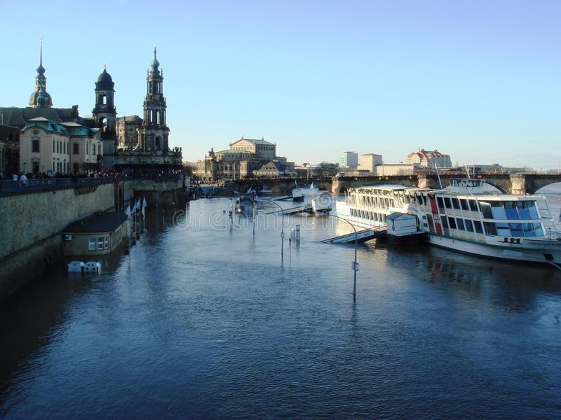 Flooding Elb River. In Dresden, Germany in January 2011 royalty free stock image