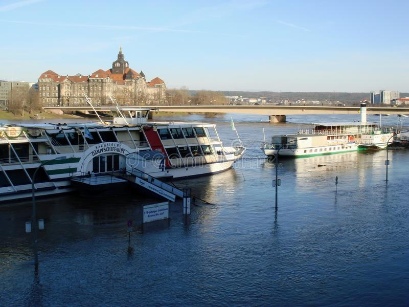 Flooding Elb river. In Dresden, Germany in January 2011 royalty free stock images