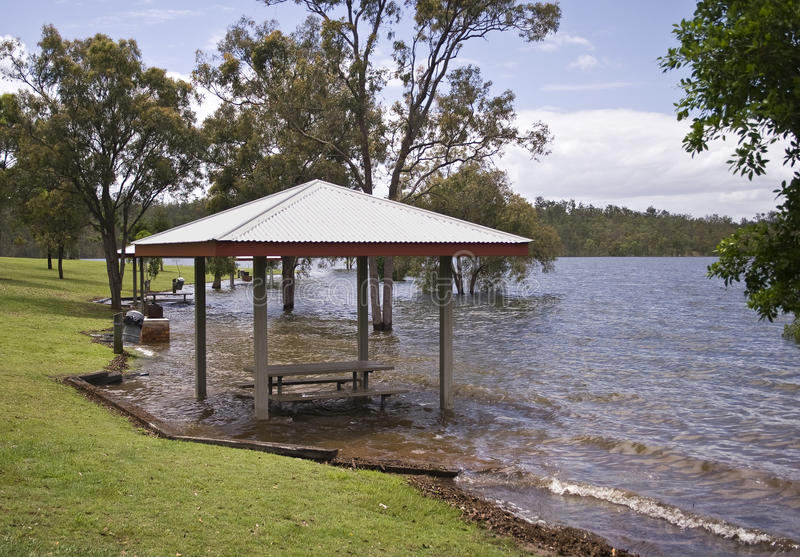 Flooding and Global Warming. River flooding a recreational park in South East Queensland, Australia royalty free stock images