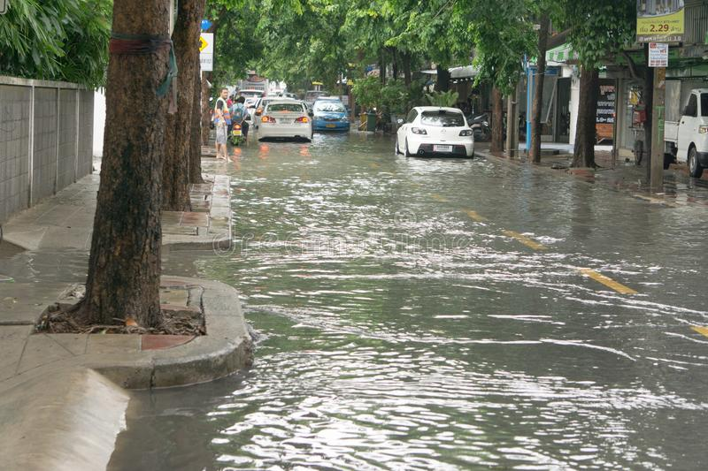 Flooding after the heaviest rains in Thailand royalty free stock images