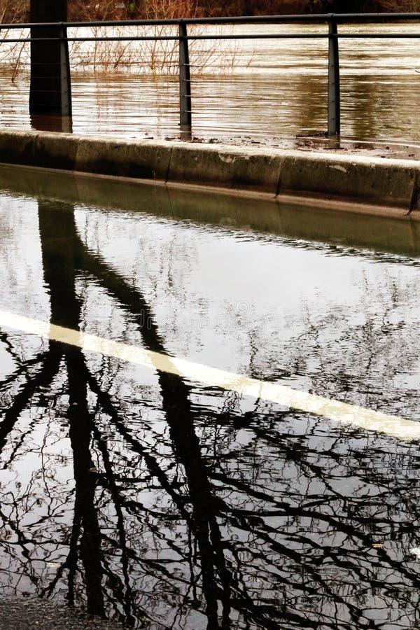 Flooding Paris Seine River banks causes damage royalty free stock photo