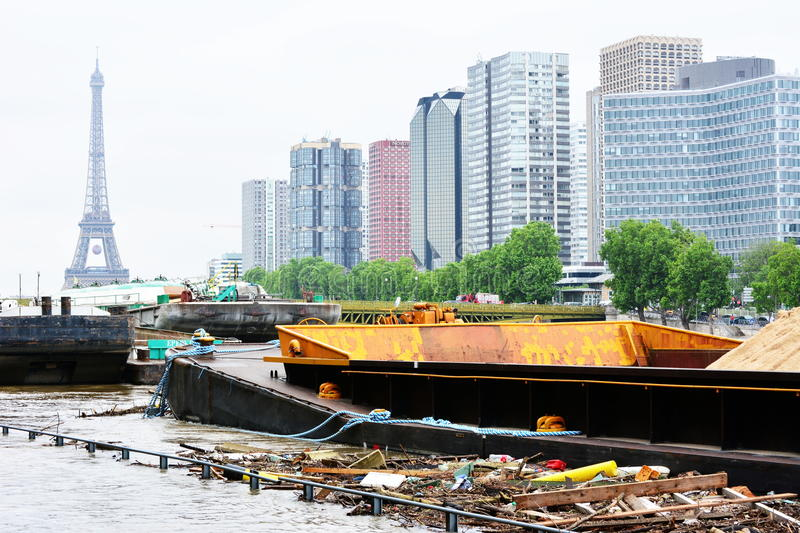 Flooding of Paris in 2016 with street under water and barges on the Seine stock image