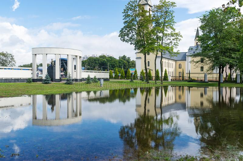 Flooding in public park in spring. Church in the flooded city park. royalty free stock photos