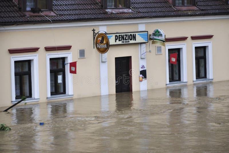 Flooding river. Bechyne - JUN 2: Flooding in Bechyne. Swollen river Luznice. Jun 2, 2013, Czech Republic stock image
