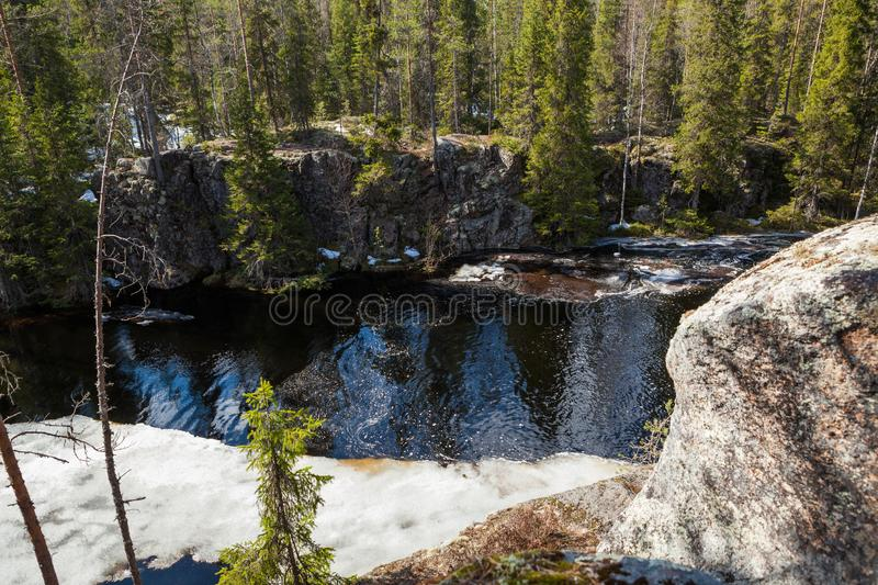 Flooding river and piece of ice in forest. At spring royalty free stock photo